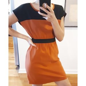 Lola | Pumpkin Burnt Orange Color Block Dress